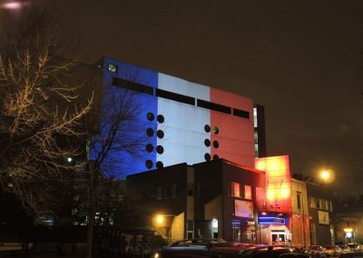 Architectural Projections in Support of the Victims of the Paris Attacks.